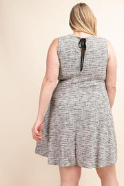 Plus Size Back Tie Fit V-Neck A-Line Dress