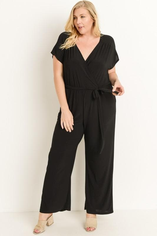 Plus Size Jumpsuit Featuring an Overlapped V-Neckline
