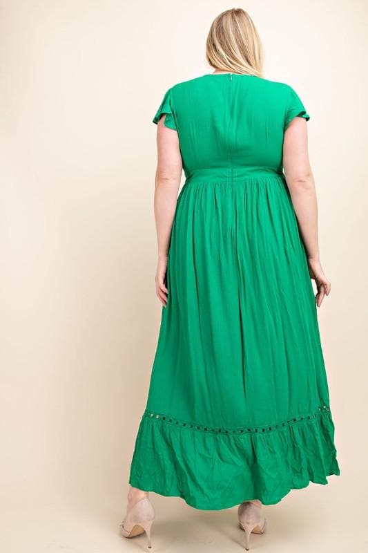Plus Size Waist Tie Crossed Bodice Maxi Dress