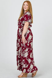 Plus Size Rayon Gauze Floral Print Dress