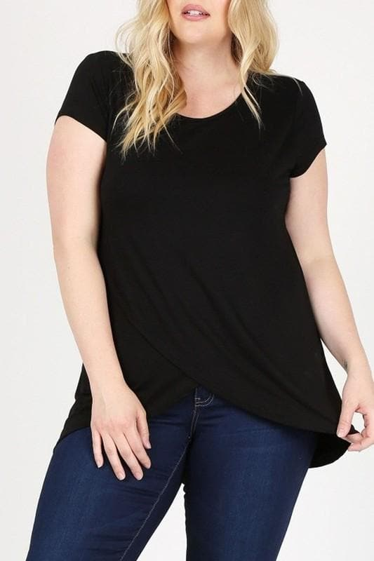 Plus Size Solid Hi-Low Tunic Top