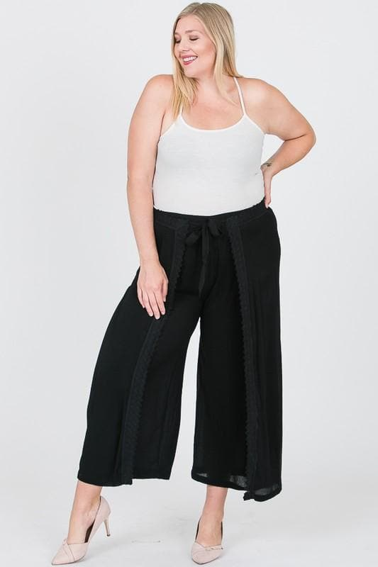 Plus Size Gauze Solid Lace Pants