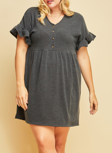 Solid Button Up Dress w/ Bell Sleeves