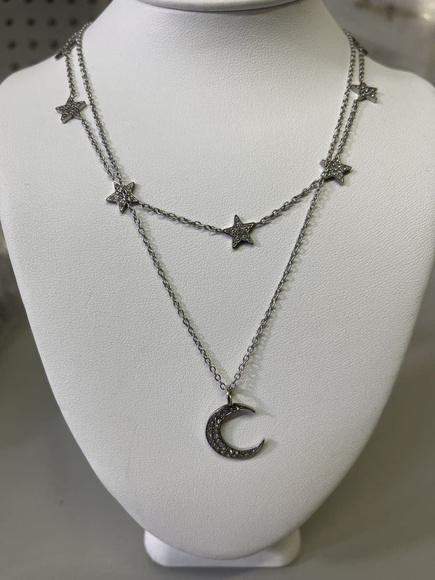 Oak and Ivy - Star and Moon Layered Necklace