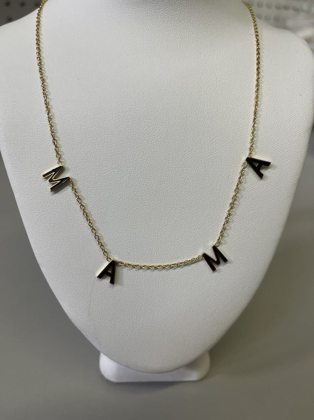 Oak and Ivy - MAMA in Black Enamel Necklace