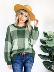 Classic Plaid Crew Neck Knit Sweater