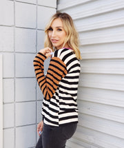 Long Sleeve Striped Round Neck Top