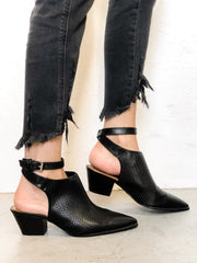 Woven Open Back Booties