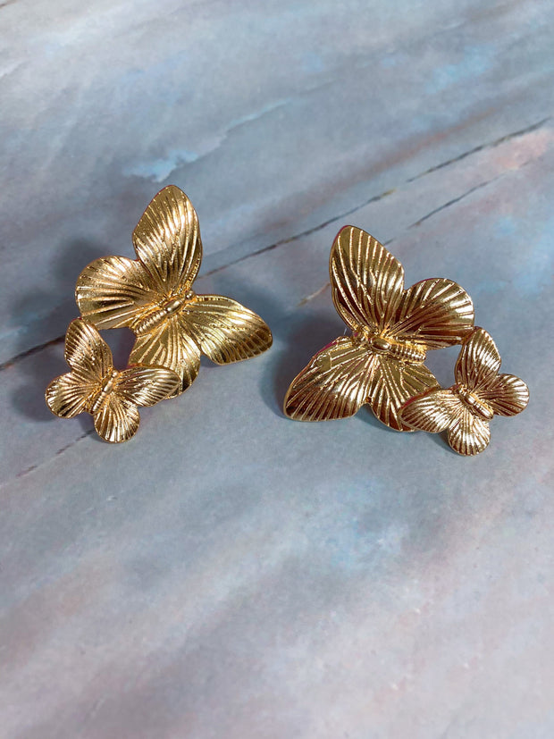 Butterfly Metal Stud Earrings