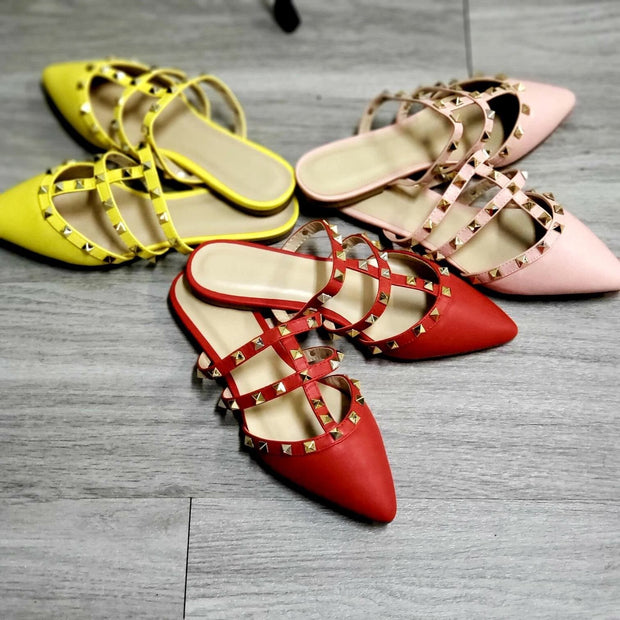 Studded Open Heel Pointed Flat