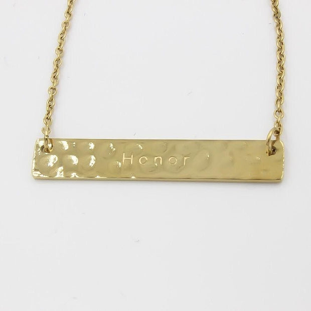 14K Gold, Hammered and  Engraved Bar Necklace