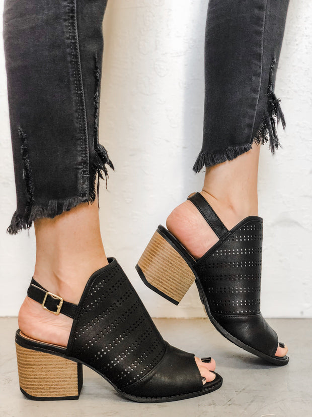 Perforated Mule Slingback Sandals