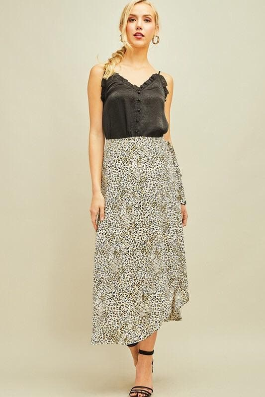 Plus Size Leopard Skirt w/Self-Tie Detail at Waist