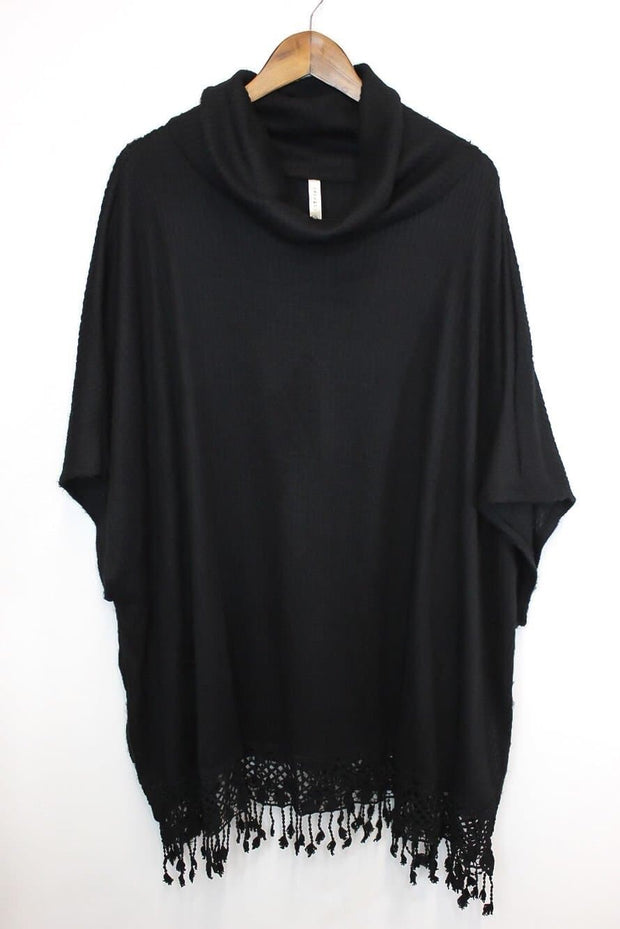 Plus Size Poncho with Lace Fringe and Cowl Neck