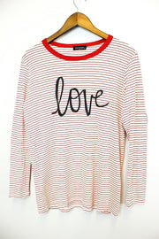 Love Print Stripe Long Sleeve Top with Heart Patch