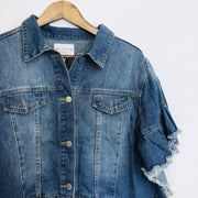 Ruffle Stone Wash Denim Jacket