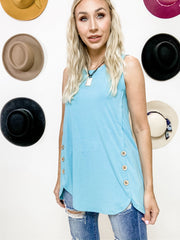 Doorbuster - Sleeveless Wood Buttons Dolphin Hem Top (S-3XL)