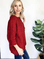 Chenille Sweater with Front Pocket and Wide Cuff Sleeve