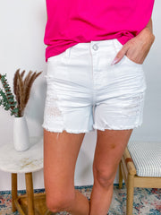 Judy Blue - White Eyelet Mid Rise Shorts (S-3XL)