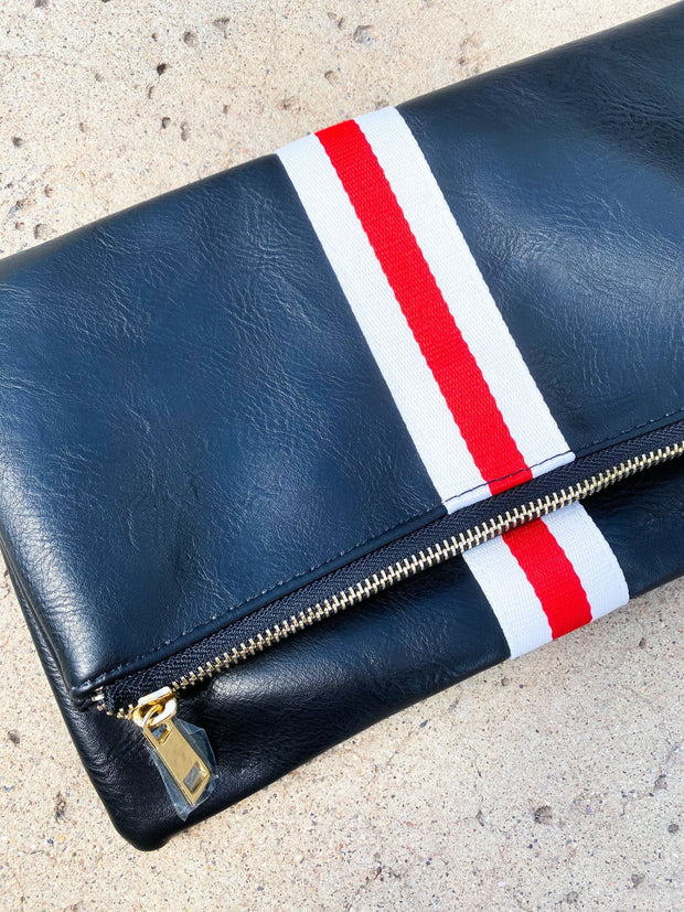 Faux Leather Preppy Clutch  with red and White Stripe