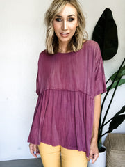 Oversized Short Sleeves Babydoll Top
