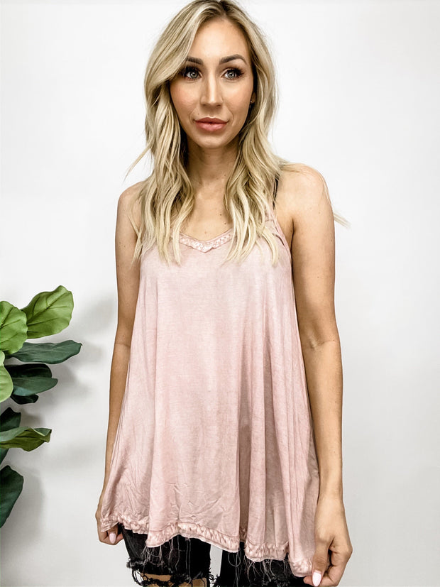 Pol - Spaghetti Strap Knit Tunic Top Featuring Low V-Neck with Lace Trim Detail