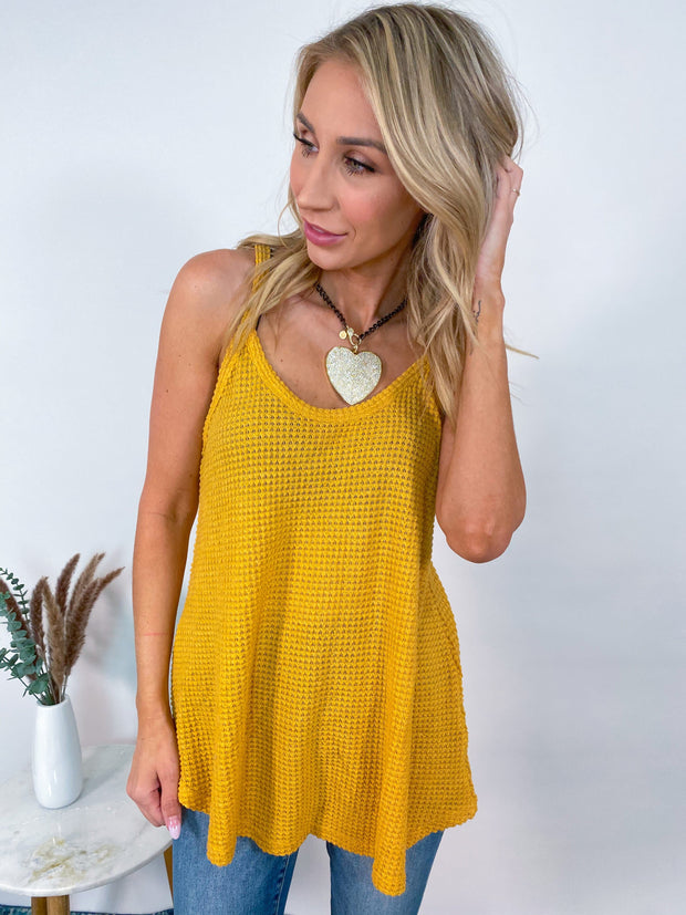 Long Line Waffle Textured Relaxed Fit Knit Camisole