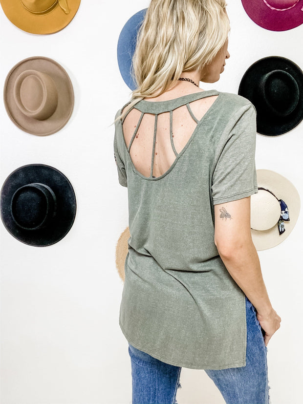 Round Neck Top with Cage Back Detail