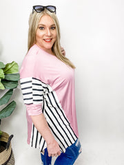 Solid Tunic Top Featuring Stripe Contrast (1XL-3XL)