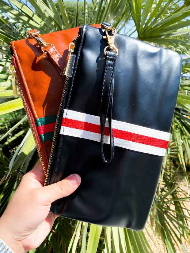 Faux Leather Preppy Clutch  with Center Stripe
