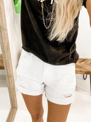 Judy Blue - White Cuffed Shorts