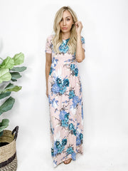Georgia Tea Floral Maxi Dress with Pockets