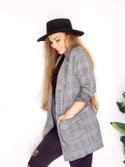 City Chic Plaid Blazer with STRETCH!