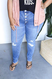 Judy Blue Plus Size High Waist Button Fly Skinny Jeans