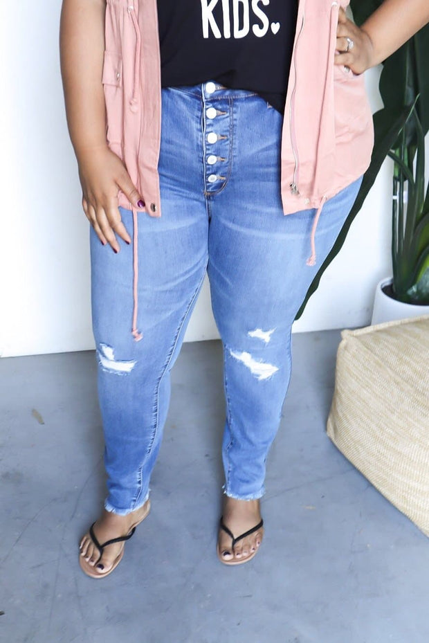 Judy Blue Plus Size High Waist Button Fly Skinny