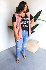 Plus Size Alexa Feed My Kids Graphic Top