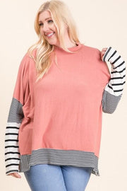 Plus Size Faux Cashmere Mock Neck Knit Tunic Top with Stripe Contrast Detail