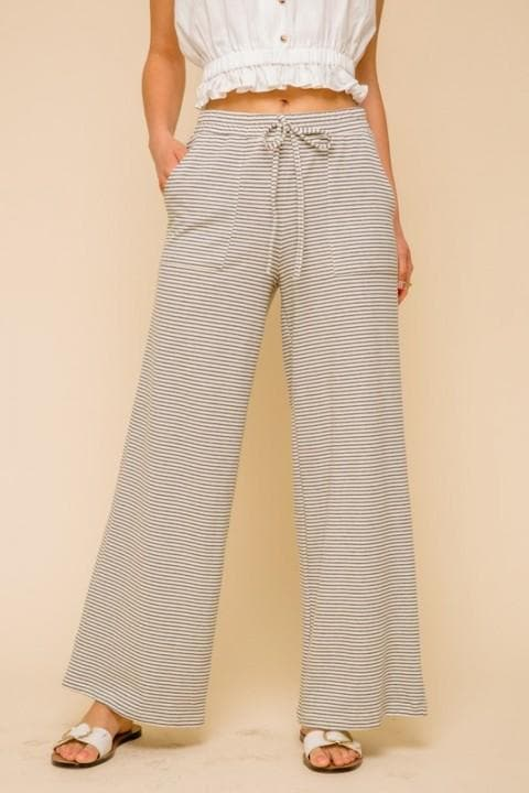 Wide Leg Striped Elastic Waist Comfy Pants with Pockets