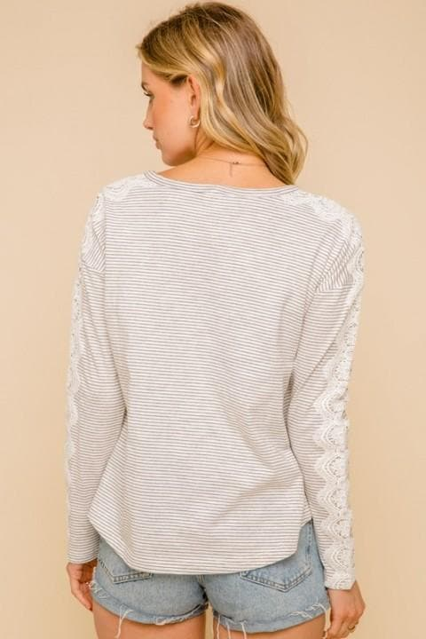 Feminine Touch Crochet Lace Detailed Stripe Long Sleeve Boat Neck Top