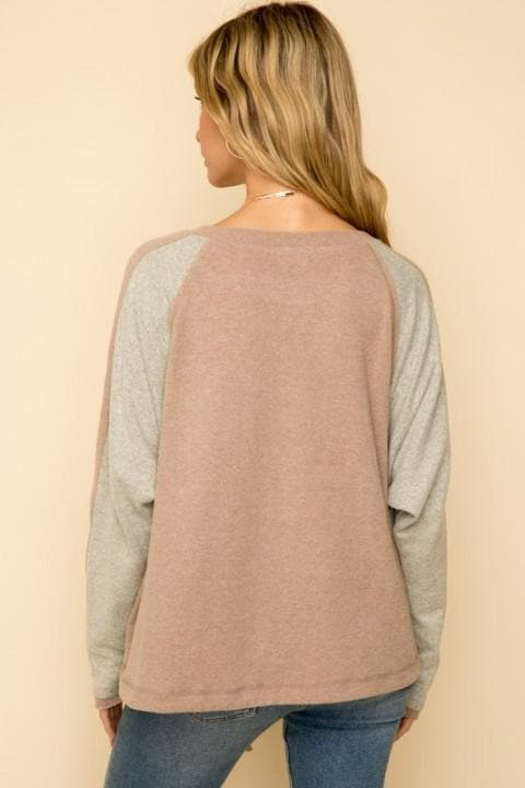 Color Block Dolman Sleeve Cinched Waist Top