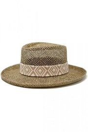 Dori - Open Weaved Seagrass Gambler Hat with a Tribal Band Detail
