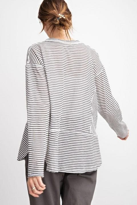 Easel - Whisper Cotton Long Sleeve Striped Top