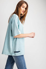 Easel - French Terry Distressed Top