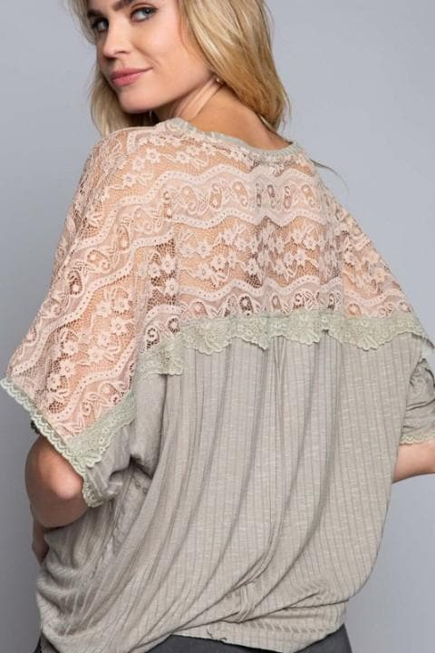 Pol - Mixed Fabrication Top with Ribbed and Lace Contrast