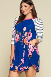 Floral Striped Contrast Dress (1XL-3XL)