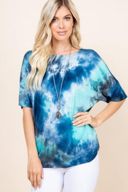 Tie Dye Ruched Top (1XL-3XL)