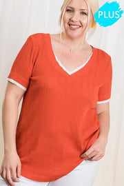 Sold Pointelle Knit Fabric Layered Top (1XL-3XL)