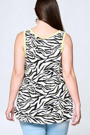 Sleeveless Neon Zebra Side Twist Top (1XL-3XL)