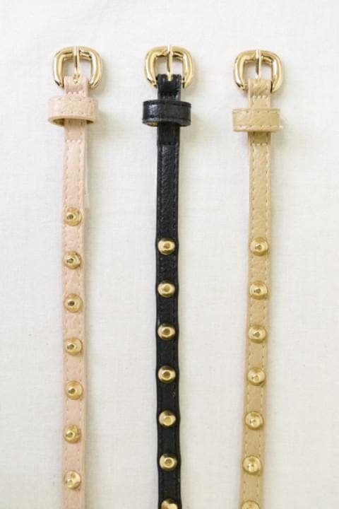 Studded Double Wrap Skinny Belt