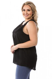 Sleeveless Lace Front Top (1XL-3XL)